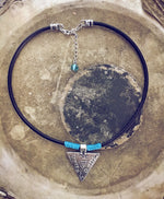 mystic triangle leather choker necklace - Peacock & Lime