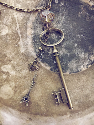 oval skeleton key & eiffel tower charm necklace - Peacock & Lime
