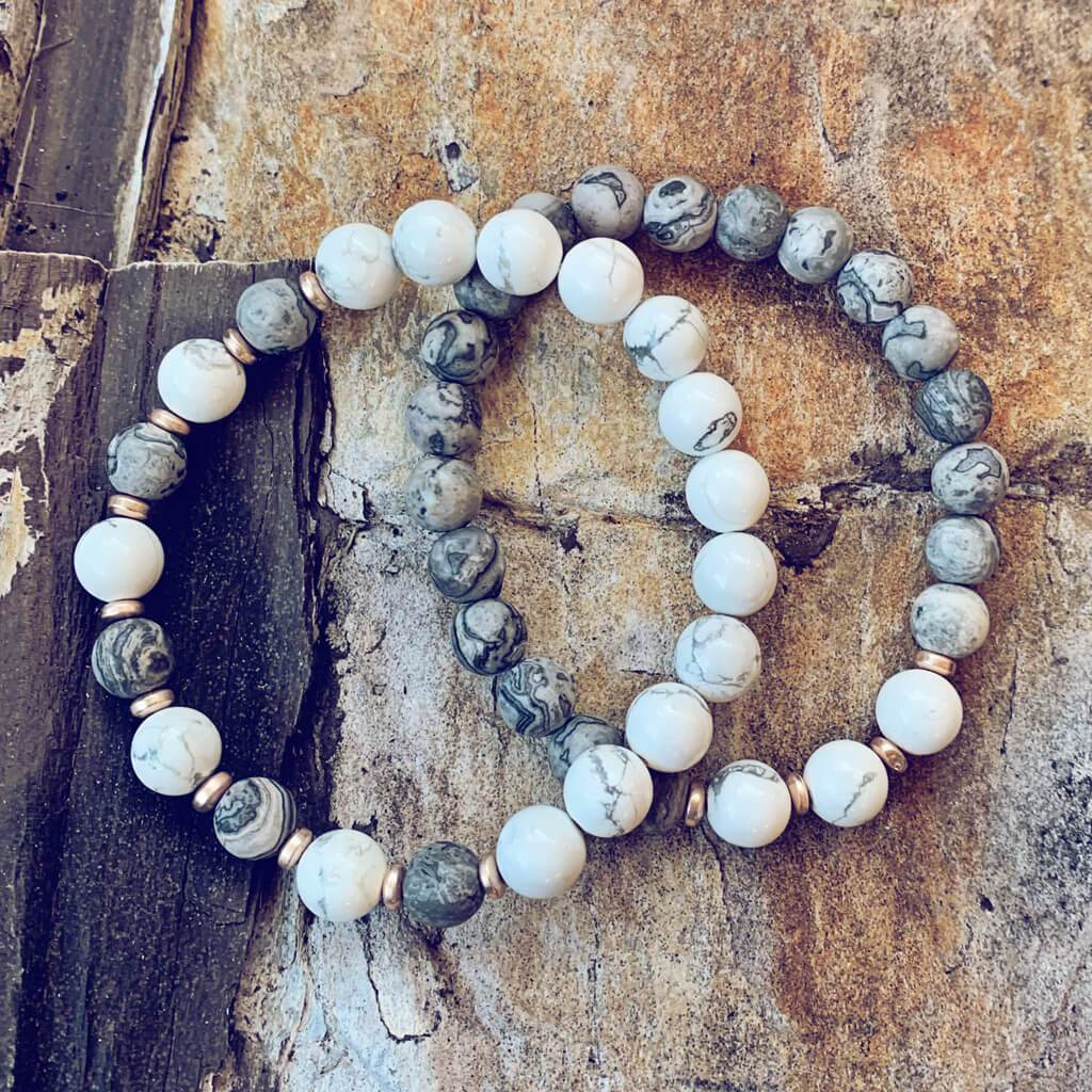 patience // howlite and picasso jasper mala bead bracelet - Peacock & Lime