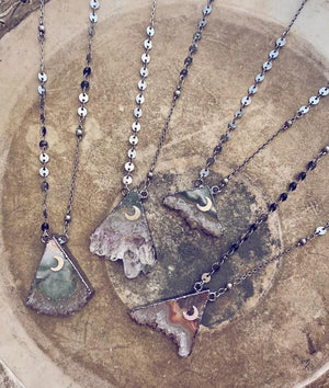 pyramid mountain - electroformed amethyst slice mountain peak pendant necklace - Peacock & Lime