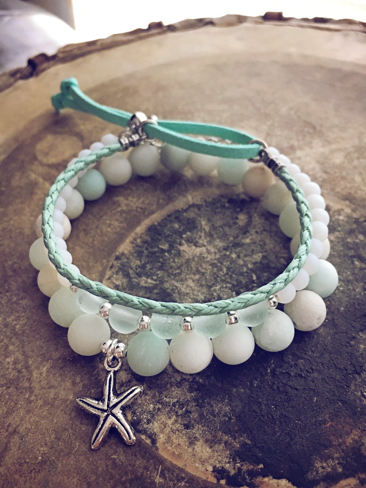 seafoam beachy bracelet style pack - Peacock & Lime