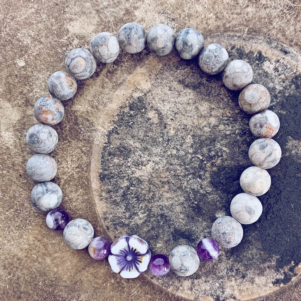 serenity // fossil jasper with purple & white hibiscus flower bead mala bracelet - Peacock & Lime