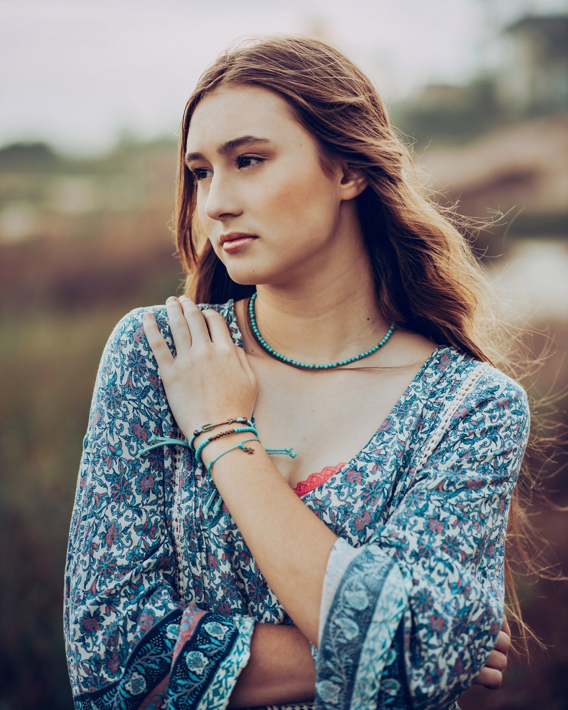 shoreline - brass star wish bracelet - Peacock & Lime