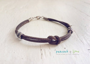 simple men's/boys/youth grey brown leather knot friendship bracelet - Peacock & Lime