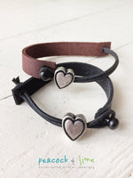 simple modern single strap leather bracelet with pewter heart slider - Peacock & Lime