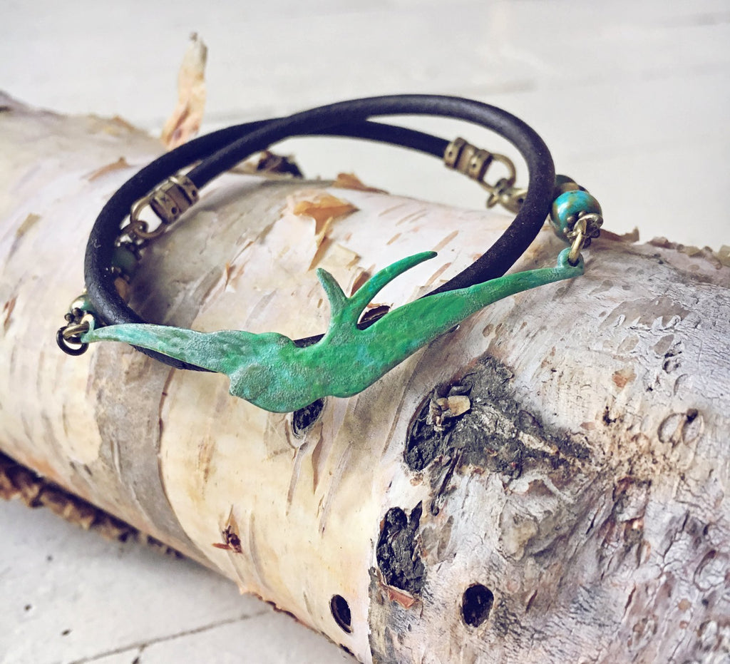 soaring bird leather wrap bracelet // choker - Peacock & Lime