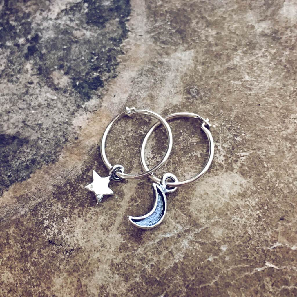 solasta // teeny tiny sterling silver star and crescent moon hoop earrings⁣ - Peacock & Lime