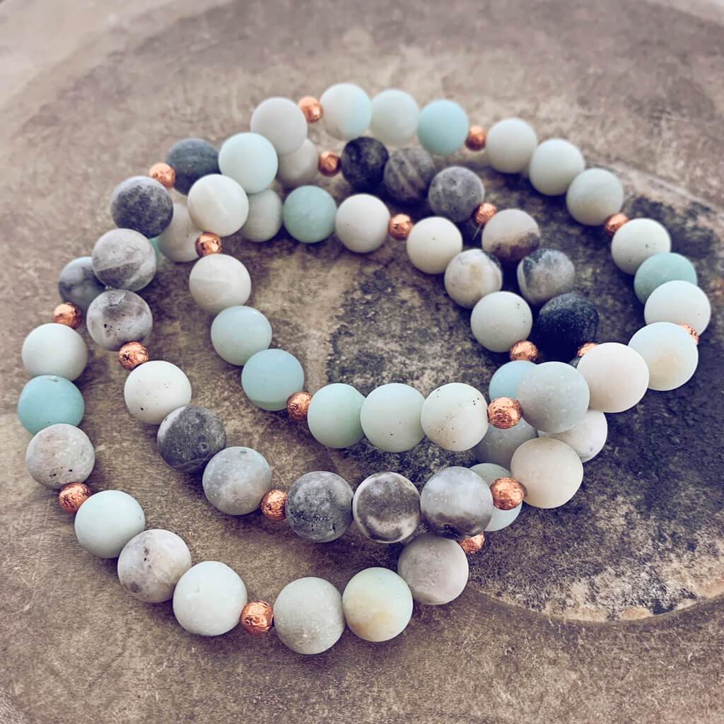 soothe // amazonite and copper mala bead bracelet - Peacock & Lime