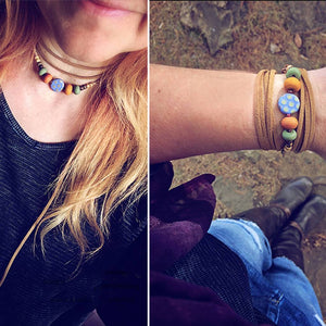 southwest choker necklace // convertible lariat wrap bracelet - Peacock & Lime