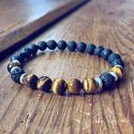 strength // men's tiger's eye and lava bead mala bracelet - Peacock & Lime , the original Peacock and Lime boho jewelry