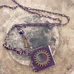 sunburst // mini journal blank book pendant necklace - Peacock & Lime , the original Peacock and Lime boho jewelry