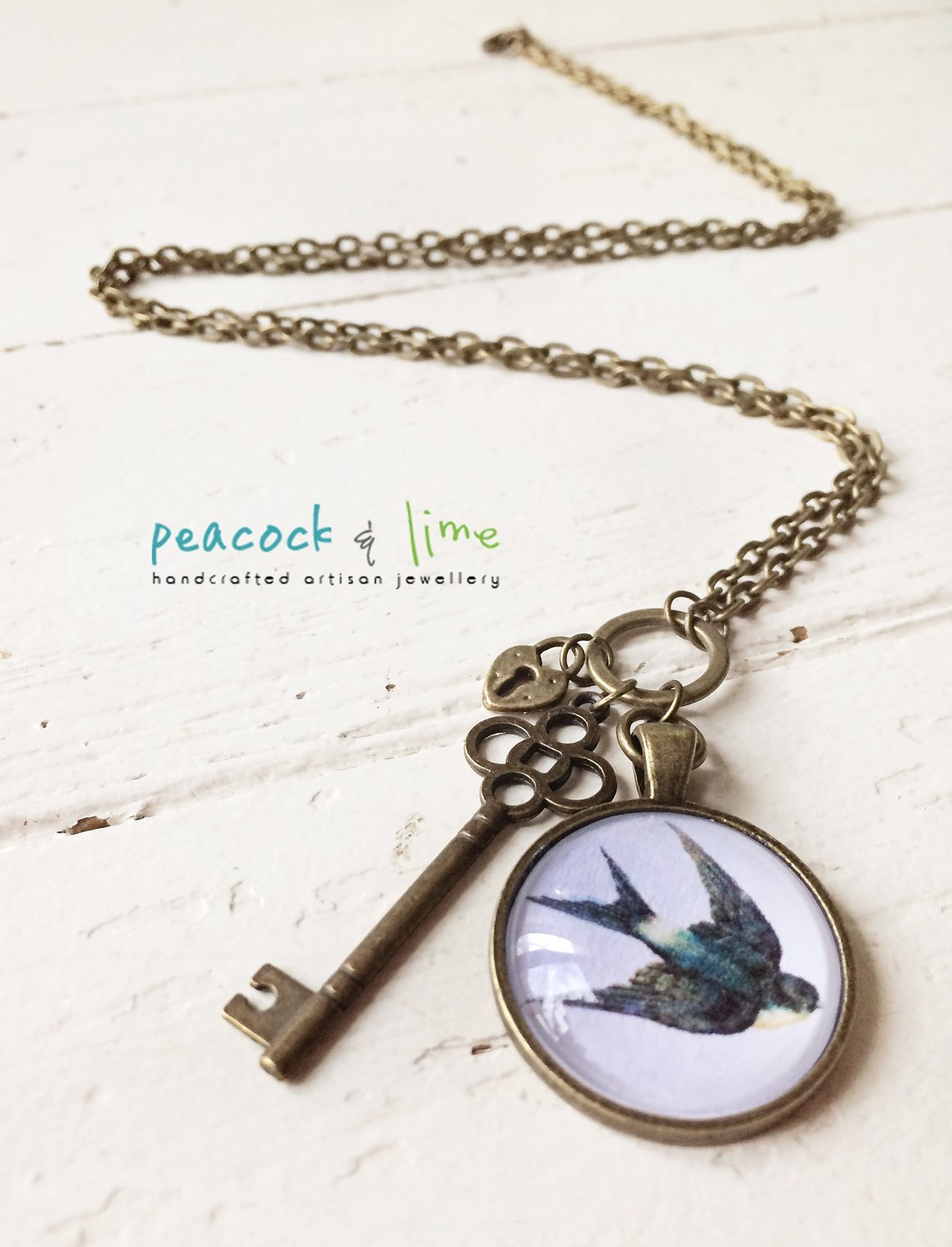 swallow bird, lock and key pendant necklace - Peacock & Lime , the original Peacock and Lime boho jewelry