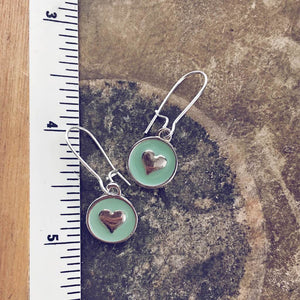 sweetheart / mint green baby boho enamel heart charm earrings - Peacock & Lime , the original Peacock and Lime boho jewelry