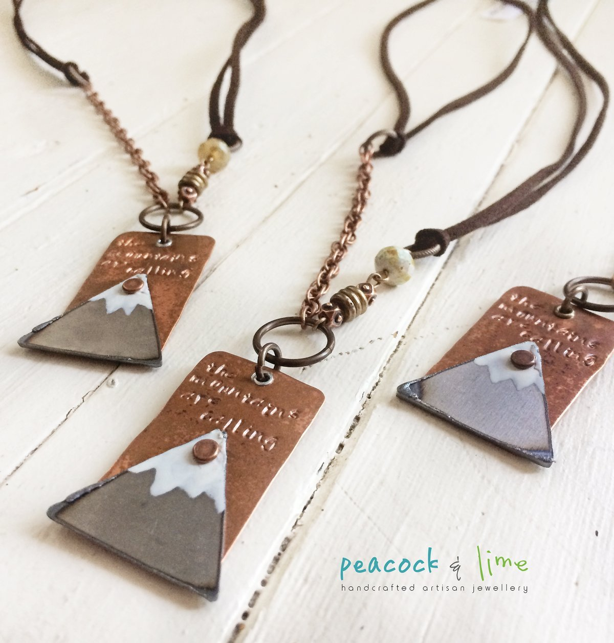 the mountains are calling handstamped necklace - Peacock & Lime , the original Peacock and Lime boho jewelry