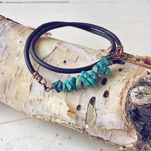 turquoise chip unisex leather wrap bracelet // choker - Peacock & Lime , the original Peacock and Lime boho jewelry