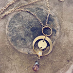 wanderstar crescent moon full moon druzy star and czech glass bead pendant necklace - Peacock & Lime , the original Peacock and Lime boho jewelry