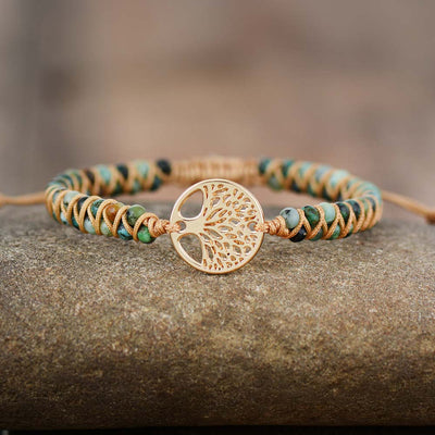 Natural African Turquoise & Tree of Life Bracelet