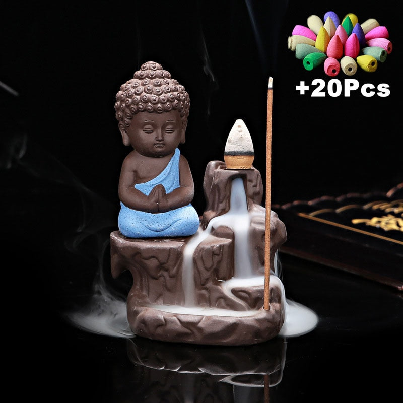 Little Monk Backflow Incense Burner - With 20 Free Cones