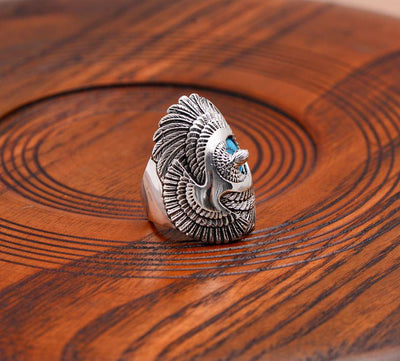 Eagle Wings Blue Natural Stone Ring - 925 Sterling Silver