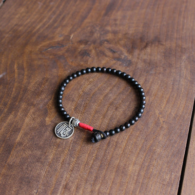 Tibetan Coconut Shell Bracelet with Lucky Sign