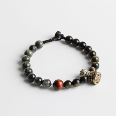 Eagle Eye Stone With Golden Obsidian Tibetan Bracelet - Protective
