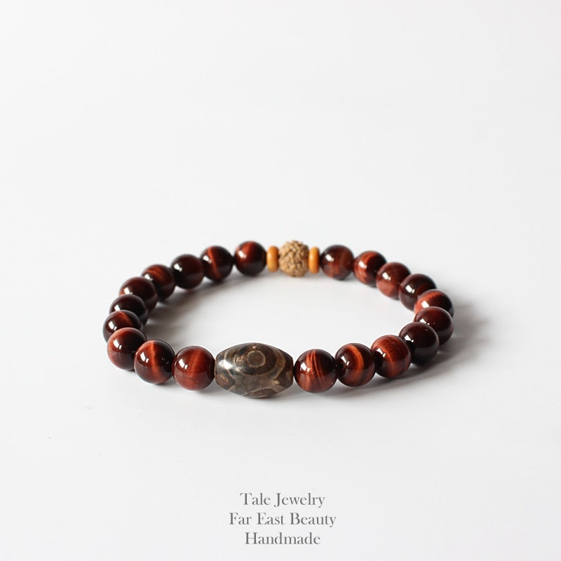 Natural Red Tiger Eye & Rudraksha Bracelet