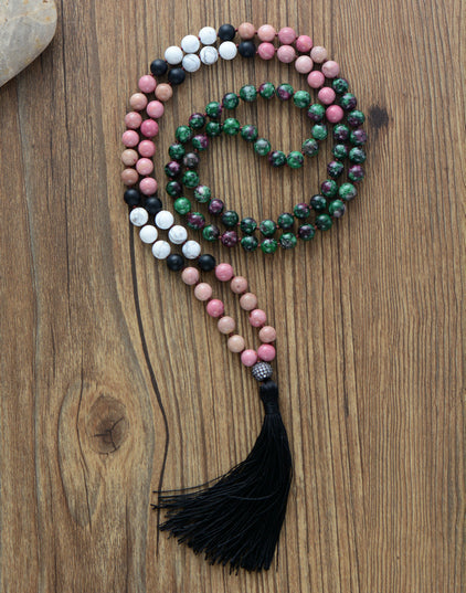 Patience to enjoy Love Mala - Howlite, Rhodonite and African Turquoise