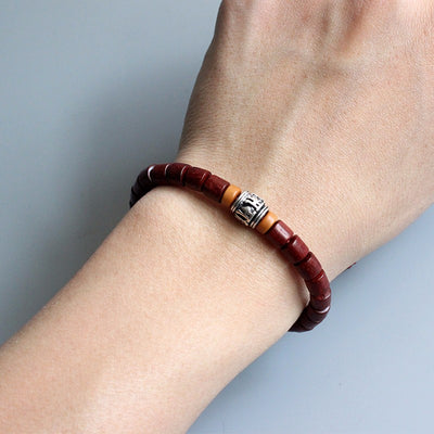 Tibetan Natural Wood Bracelet - White Copper Mantra Charm