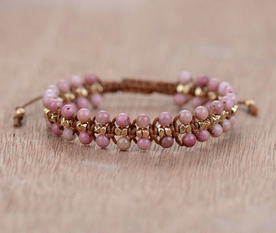 Handmade Rhodonite Gold Beads Wrap Bracelets