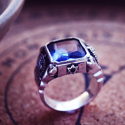 King Crown Blue Crystal Ring - 925 Sterling Silver
