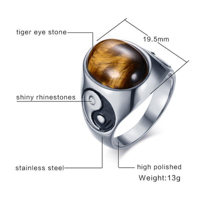 Tiger Eye Brown Stones with Yin Yang Symbol Ring - Stainless Steel