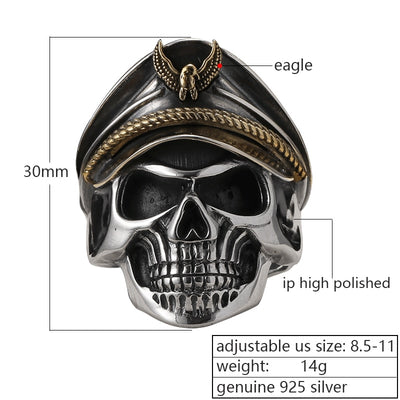 Punk Rock Skull Ring - 925 Sterling Silver