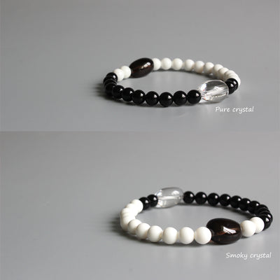Yin Yang Bracelet - Black Obsidian & White Mother of Pearl