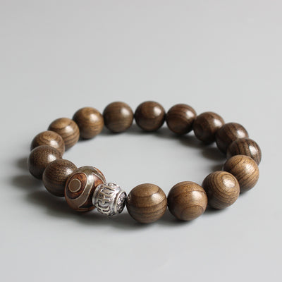 Traditional Tibetan Mantra - Natural Wood Bracelet