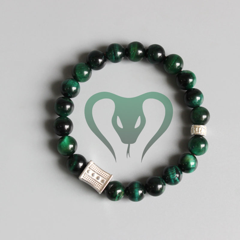 Tibetan Six Words Mantra - Green Cobra Eye Bracelet