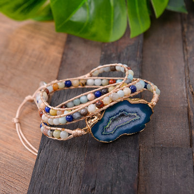 Handmade Natural Stone Leather Wrap Bracelet