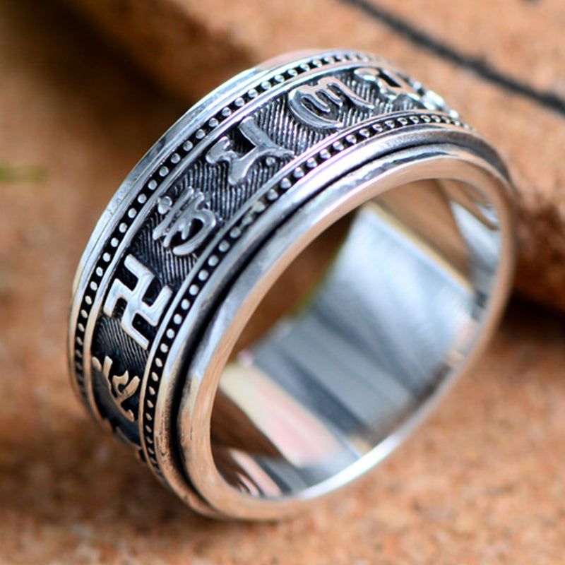 Tibetan Mantra Spinner Ring - Pure 925 Silver Ring