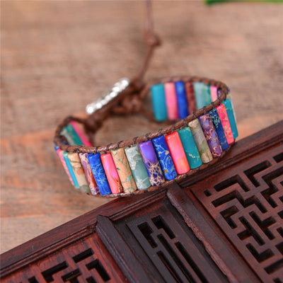 Handmade Leather Wrap Chakra Bracelet - Cylinder