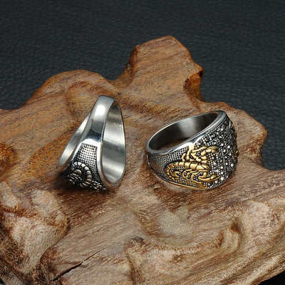 Double Scorpion Titanium Ring