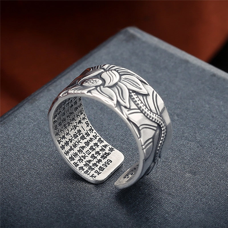 Heart of Sutra - 999 Pure Silver Ring