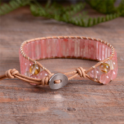 Handmade Watermelon Vintage Leather Wrap Bracelet