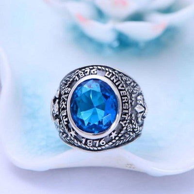 Anchor And Eagle Wings  Sliver Ring - inlaid Blue Crystal