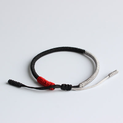 Handmade Tibetan Lucky Knots - Black, Silver & Red