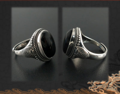 Natural Black Onyx Stone Ring - Pure 925 Silver
