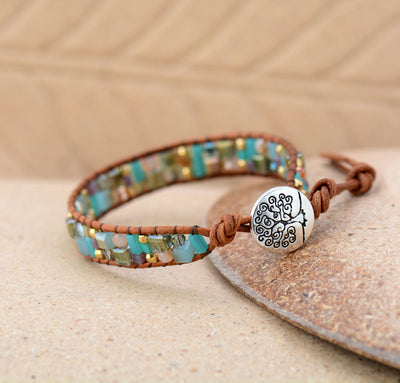 Natural Crystal & Leather Tree of Life Wrap Bracelet