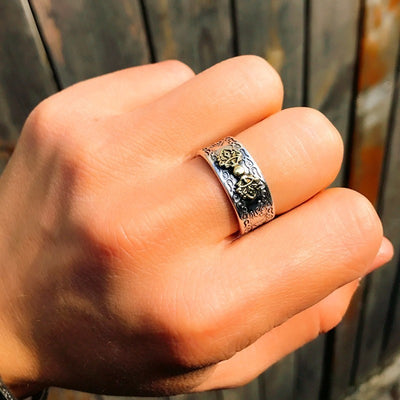 Buddhist Heart Sutra Ring - 990 Silver