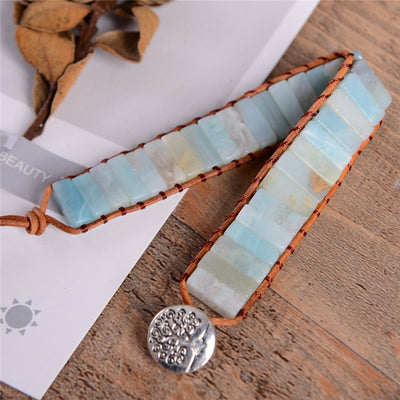 Handmade Amazonite Leather Wrap Bracelet