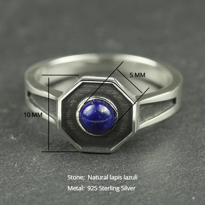 Natural Lapis Lazuli Ring - 925 Sterling Silver