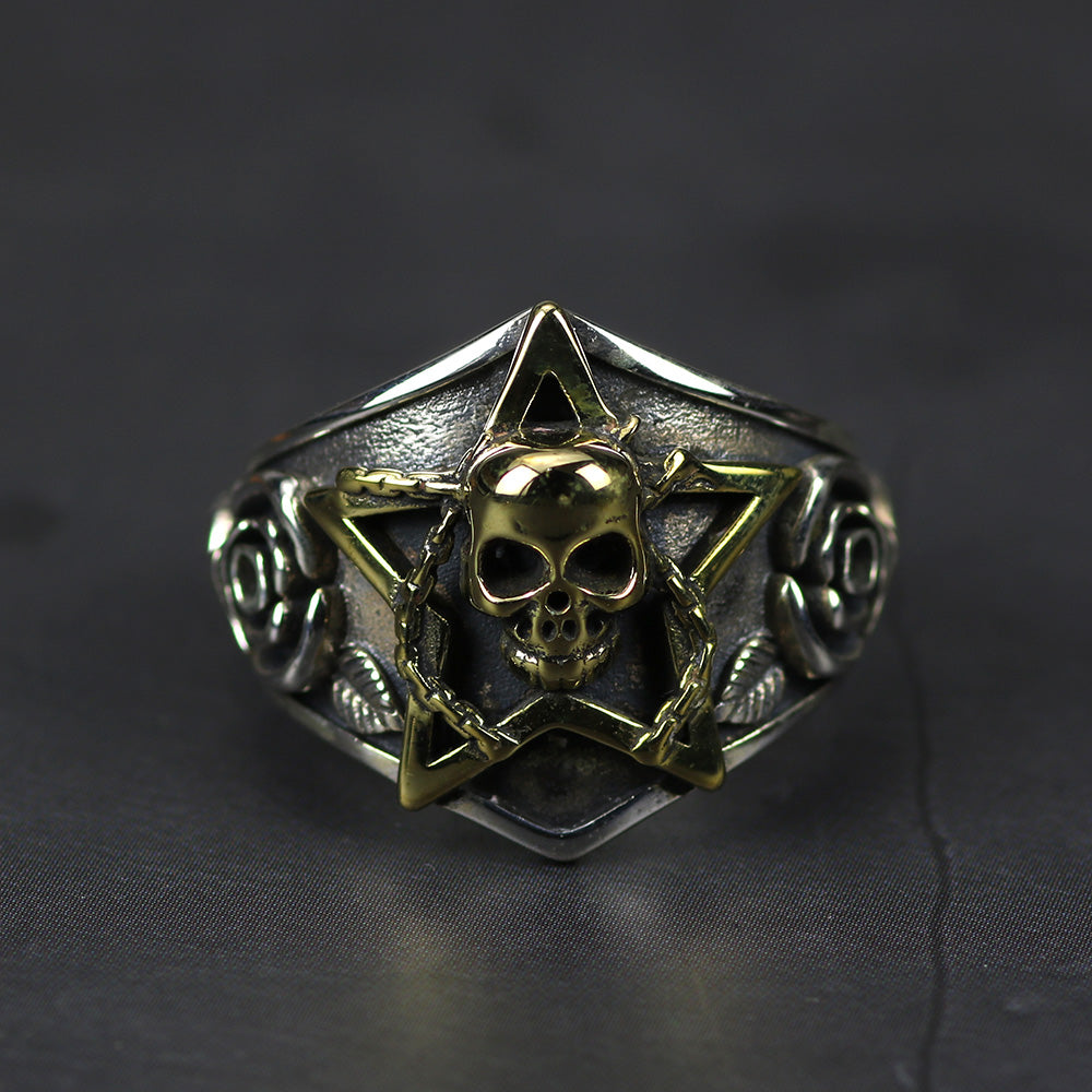 Skull With Pentagram Gothic Punk Rock Rose Flower Ring -  Real Pure 925 Sterling Silver