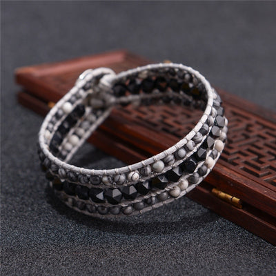 Indian Agate Triple Leather Wrap Bracelet